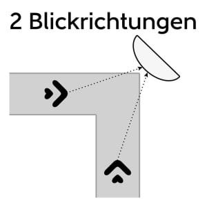 Verkehrsspiegel rot/weiß aus Edelstahl  - Überprüfung von 2 Richtungen