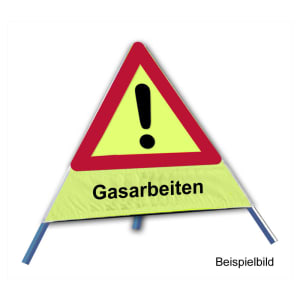 Faltsignal - Gefahrenstelle mit Text: Gasarbeiten