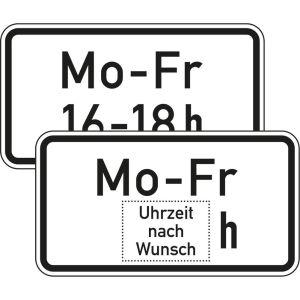 Zusatzschild Zeitliche Beschränkung Mo - Fr
