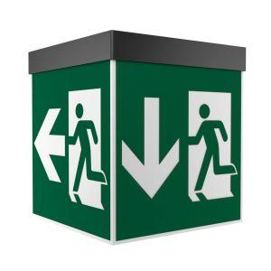 Rettungszeichenwürfel MADRID (Wand-/Deckenaufbau), 7L-Schutzlicht