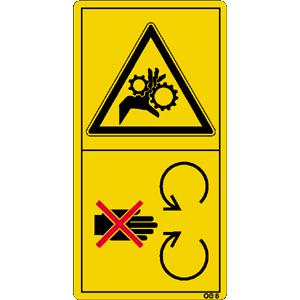 Schutzeinrichtung bei laufendem Motor nicht öffnen oder entfernen.