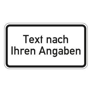 Individuelles Zusatzzeichen Zusatzschild mit Wunsch-Text