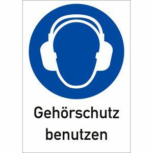 Kombi-Gebotsschilder -  Gehörschutz benutzen (ISO 7010)