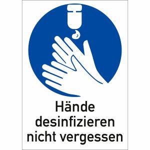Kombi-Gebotsschilder - Hände desinfizieren nicht vergessen