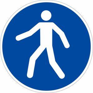 Gebotszeichen - Fußgängerüberweg benutzen nach ISO 7010 (M 024)