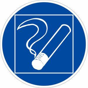 Gebotszeichen - Rauchen innerhalb des begrenzten Raumes gestattet