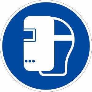 Gebotszeichen - Schweißmaske benutzen nach ISO 7010 (M 019)