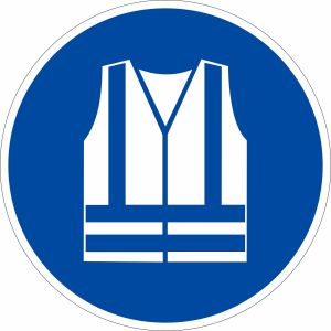 Gebotszeichen - Warnweste benutzen nach ISO 7010 (M 015)