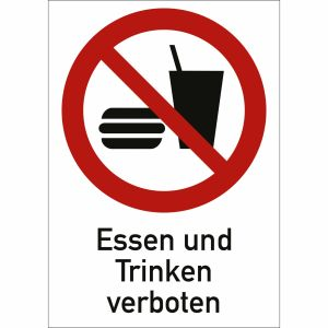 Kombischild Essen und Trinken verboten