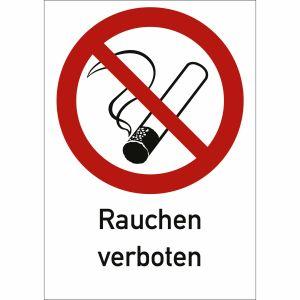 Textschild Rauchen verboten mit Piktogramm