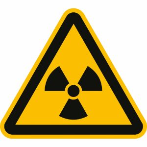 Warnung vor radioaktiven Stoffen oder ionisierenden Strahlen nach ISO 7010 (W 003)