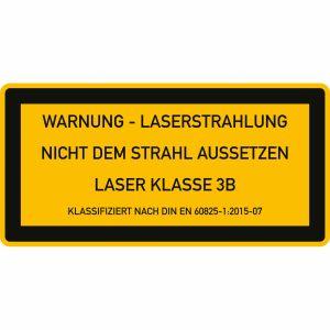 Laser Klasse 3B - Warnung - Laserstrahlung - Nicht dem Strahl aussetzen
