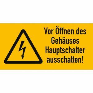 Warnetiketten Vor Öffnen des Gehäuses Hauptschalter ausschalten!