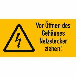Warnetiketten Vor Öffnen des Gehäuses Netzstecker ziehen!