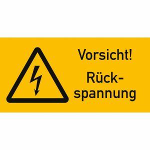 Warnetiketten Vorsicht! Rückspannung