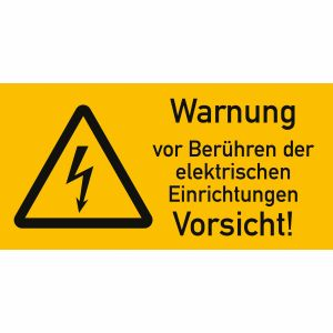 Warnetiketten Warnung vor Berührung der elektrischen Einrichtungen - Vorsicht!