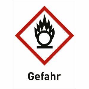 Flamme über Kreis mit Text: Gefahr (GHS 03)