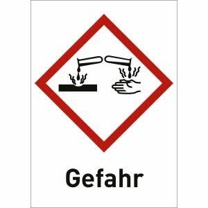 Ätzwirkung mit Text: Gefahr (GHS 05)
