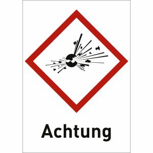 Explodierende Bombe mit Text: Achtung (GHS 01)