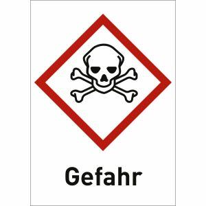 Totenkopf mit Text: Gefahr (GHS 06)