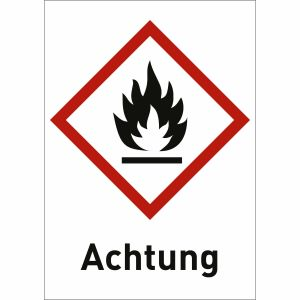 Flamme mit Text: Achtung (GHS 02)