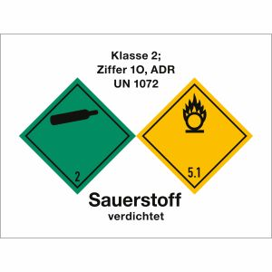 Klasse 2, Ziffer 1c, ADR UN 1072, verdichteter Sauerstoff