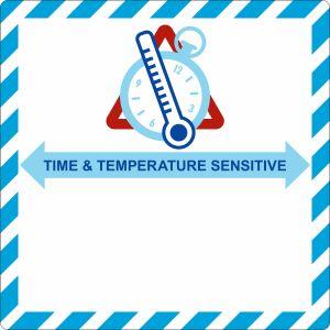 Gefahrzettel Zeit & Temperaturempfindlich (Time & Temperature sensitive)