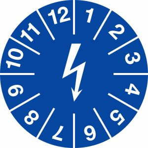 Prüfplaketten zur Kennzeichnung von elektrischen Einrichtungen, blau