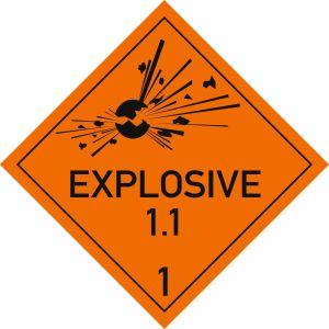 Explosive Stoffe, Aufschrift: EXPLOSIVE, Unterklasse 1.1