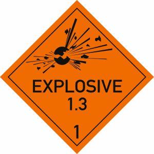 Explosive Stoffe, Aufschrift: EXPLOSIVE, Unterklasse 1.3