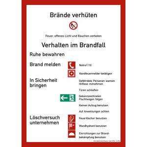 Brandschutzordnung für bauliche Anlagen (mit Handfeuermelder) nach DIN 14096-A