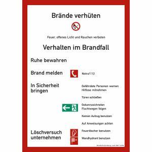 Brandschutzordnung für bauliche Anlagen (ohne Handfeuermelder) nach DIN 14096-A