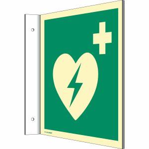Fahnenschild Defibrillator nach ISO 7010 (E 010)