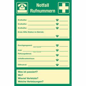 Notfall-Rufnummern zur Selbstbeschriftung