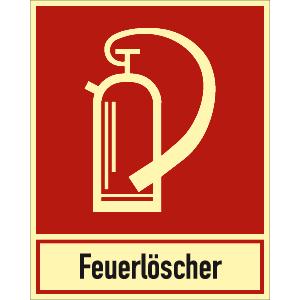 Feuerlöscher mit Schriftzug nach ASR A 1.3 (2007), (BGV A8 F 05)