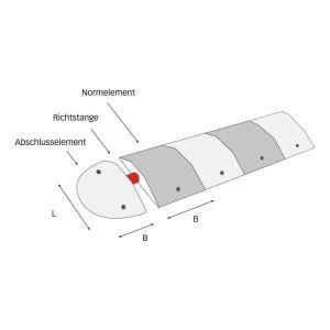 Richtstange für Fahrbahnschwelle TOPSTOP aus Kautschuk - Tragkraft 40 t, bei einer Achslast von 15 t