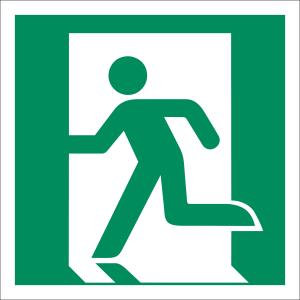 Notausgang links nach ISO 7010 (E 001)