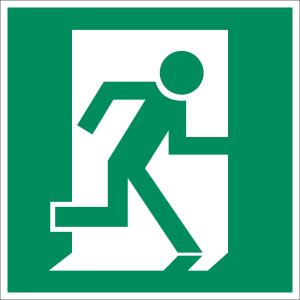 Rettungsweg / Notausgang rechts nach ASR A 1.3, BGV A8, DIN 67510, ISO 6309, DIN 4844-2 (BGV A8 E 10)
