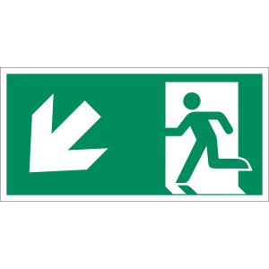 Rettungsweg links abwärts nach  ISO 7010 (E 001), ISO 3864, ISO 16069