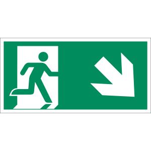 Rettungsweg rechts abwärts nach ISO 7010 (E 002), ISO 3864, ISO 16069