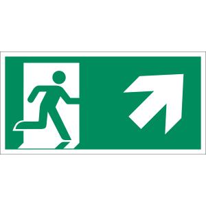 Rettungsweg rechts aufwärts nach  ISO 7010 (E 002), ISO 3864, ISO 16069