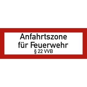 Anfahrtszone für Feuerwehr § 22 VVB nach DIN 4066