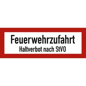 Feuerwehrzufahrt Haltverbot nach STVO nach DIN 4066
