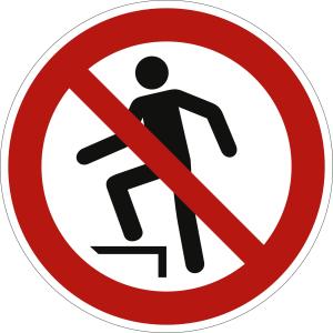 Aufsteigen verboten nach ISO 7010 (P 019)
