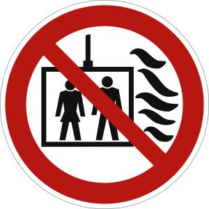 Aufzug im Brandfall nicht benutzen (nach prEN 81-73)
