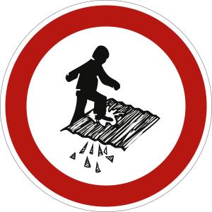 Betreten verboten, Durchsturzgefahr