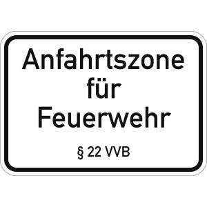 Anfahrtszone für Feuerwehr § 22 VVB