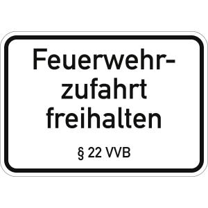 Feuerwehrzufahrt freihalten § 22 VVB