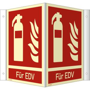 Nasen-/Winkelschild Feuerlöscher - Für EDV (ISO 7010)