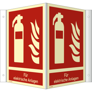 Nasen-/Winkelschild Feuerlöscher - Für elektrische Anlagen (ISO 7010)